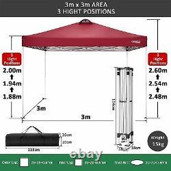Pop-up Gazebo 3x3M Waterproof Marquee Garden Market Patio Canopy Tent Outdoor UK