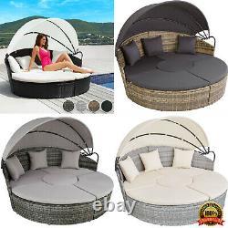 Rattan Garden Day Bed Sofa Sun Patio Outdoor Island Lounger Furniture Set Canopy