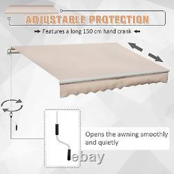 Retractable Awning 3x2m Beige Manual Canopy Waterproof Window Patio Sun Shade