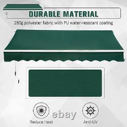 Retractable Awning 3x2m Green Manual Canopy Waterproof Window Patio Sun Shade