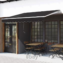 Retractable Awning 3x2m Grey Manual Canopy Waterproof Window Patio Sun Shade