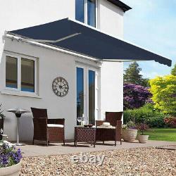 Retractable Manual Awning Canopy Garden Patio Sun Shade Shelter Porch Cover Blue