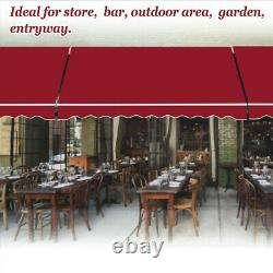 UK 3 Sizes Garden Patio Awning Canopy Manual Retractable Shelter Sun Shade Rain