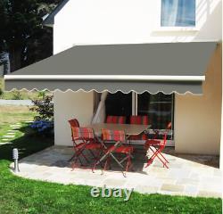 UV Sun Garden Shade Retractable Patio Awning Manual Shelter Outdoor Canopy Grey