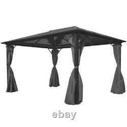 VidaXL Gazebo with Curtain Anthracite Aluminium Patio Canopy Marquee Shelter 4m