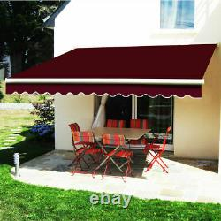 Wine Red Manual Awning Retractable Patio Canopy Garden Sun Shade Outdoor 2.5x2M