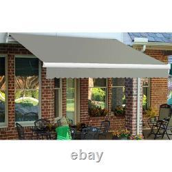 XL Manual Retractable Patio Awning Deep Grey Garden Sunshade Outdoor Canopy Café