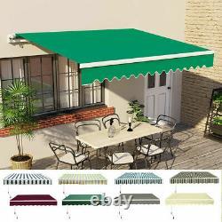 2.5 X 2m Auvent Manuel De Patio Jardin Canopy Sun Shade Refuge Rétractable Vert