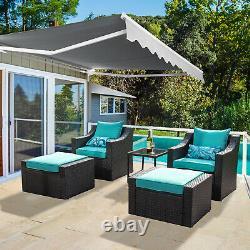 2.5x2m Auvent Patio Rétractable Manuel Jardin Extérieur Canopée Sun Shade Shelter