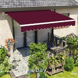 2.5x2m Vin Rouge Auvent Manuel Patio Rétractable Canopy Garden Sun Shade Outdoor