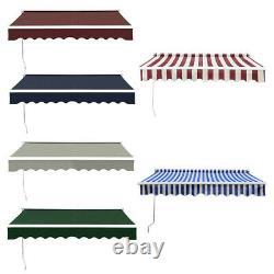 2m-4m Patio Retractable Auvent Manuel Jardin Canopy Uv Sun Shade Cafe Shelter Uk