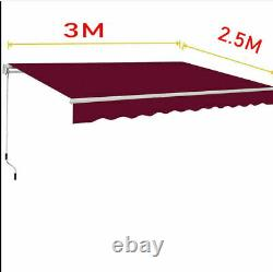 3m X 2,5m Patio Bricolage Manuel Auvent Jardin Canopy Sun Shade Retractable Shelter Uk