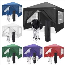 3x3m Gazebo Avec Côtés Étanches Marquee Canopy Garden Patio Tente De Soirée De Mariage