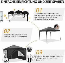 3x3m Gazebo Marquee Canopy Avec Les Cotés Lourd Étanche Jardin Patio Party Tente
