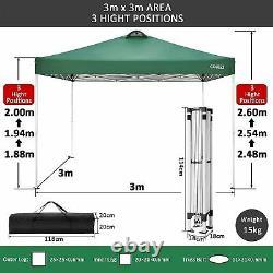 3x3m Gazebo Marquee Forte Étanche Jardin Patio Party Tente Canopy Outdoor Uk