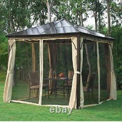3x3m Heavy Duty Metal Garden Gazebo Marquee Canopy Net Pavillon Patio Party Tent