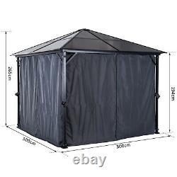 3x3m Patio Aluminium Gazebo Garden Canopy Tent Hardtop Marquee Party Pc Board