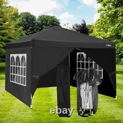 3x3m Pop-up Gazebo Canopy Marque Résistant À L'eau Avec Les Côtés Patio Tente De Jardin