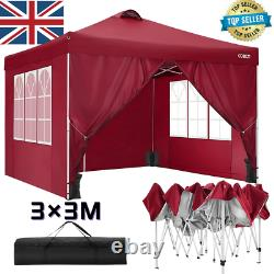 3x3m Pop-up Gazebo Waterproof Marquee Garden Mariage Patio Canopy Tente Extérieur