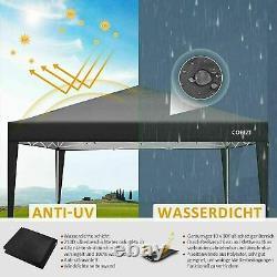 3x3m Popup Imperméable Gazebo Canopy Marquee Forte Wth 4sides Garden Patio Tente