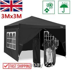 3x3m Waterproof Pop-up Gazebo Garden Fête De Mariage Patio Canopy Tente Avec 4sides Uk
