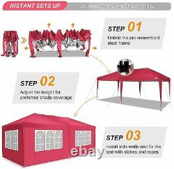 3x6m Garden Gazebo Party Market Stall Tent, Patio Shade Outdoor Sun Red Canopy Uk