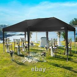 3x6m Gazebo Marquee Party Tente Avec 6 Côtés Garden Patio Outdoor Canopy Black Uk