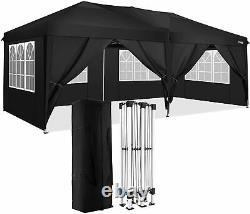 3x6m Gazebo Marquee Tente De Fête Avec 6 Côtés Jardin Patio Extérieur Canopy Noir Royaume-uni