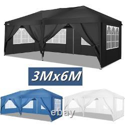 3x6m Gazebo Marquee Tente De Fête Avec Côtés Waterproof Jardin Extérieur Canopy Patio
