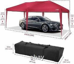 3x6m Heavy Duty Gazebo Marquee Canopy Waterproof Garden Patio Party Tent Rouge Royaume-uni