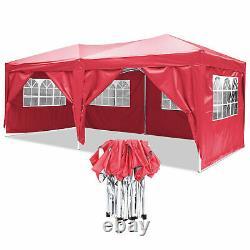 3x6m Jardin Gazebo Black Party Shelter Tente Patio Shade Outdoor Sun Canopy Rouge
