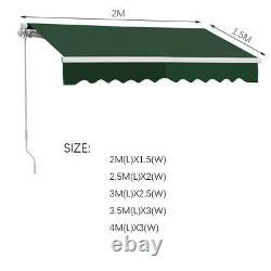 Auvent De Patio Rétractable Manuel Auvent Top Tissu Uv Sunroof Outdoor Shade Wall Canopy