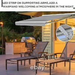 Auvent Électrique Rétractable 2,5x2m Canopée Grise Imperméable Patio Sun Shade Remote