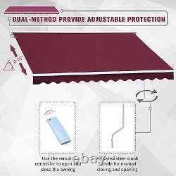 Auvent Électrique Rétractable 3,5x2,5m Canopée Rouge Aquarelle Patio Cassette Shade