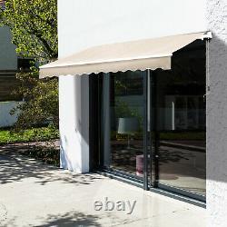 Auvent Manuel De Patio Réglable Rétractable D'été Canopy Shade Crank Beige 3,5m