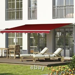 Auvent Manuel De Vin Rouge Patio Rétractable Canopy Garden Sun Shade Outdoor 2,5x2m