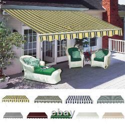 Auvent Manuel Rétractable Canopy Extérieur Jardin D'ombre De Soleil Abri 4 Tailles