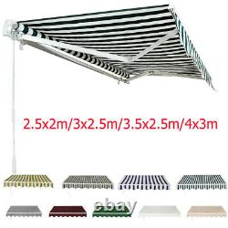 Auvent Manuel Rétractable Canopy Sun Shade Shelter Outdoor Patio Garden 4 Tailles
