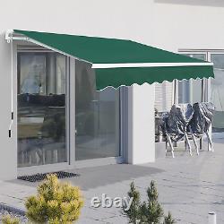 Auvent Rétractable 3x2m Green Manuel Canopy Imperméable Fenêtre Patio Sun Shade