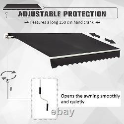 Auvent Rétractable 3x2m Grey Manual Canopy Waterproof Window Patio Sun Shade