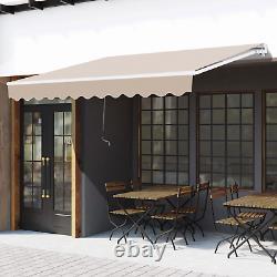 Auvent Rétractable Auvent 3x2m Beige Manuel Canopy Imperméable Fenêtre Patio Sun Shade