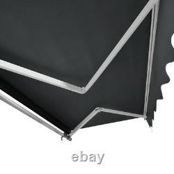 Auvent Rétractable Manuel Aluminium Canopy Patio Sunshade Shelter 3,5x2,5m Gris