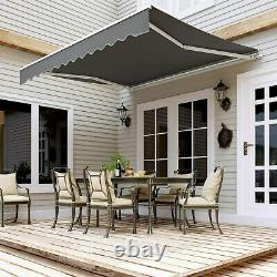 Auvent Rétractable Manuel Jardin Extérieur Canopy Patio Sun Shade Tailles D'abri Royaume-uni