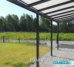 Canopée D'aluminium, Abri D'auto, Couverture De Patio 3.5m 4.5m Projection, Anthracite Grey