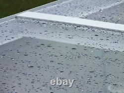 Canopée En Aluminium, Abri D'auto, Verre De Couverture De Patio Cadre Gris Anthracite Clair