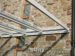 Canopée En Aluminium, Abri D'auto, Verre De Couverture De Patio Clair 1.5m Projection De 4m