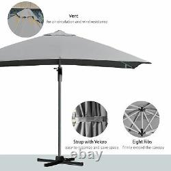Cantilever Patio Umbrella Garden Parasol Baldaquin Rotatif Réglable Manivelle Grise