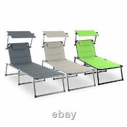 Chaise De Salon De Jardin Inclinable Sun Shade Patio Deck Outdoor Day Bed Rembourré Grey