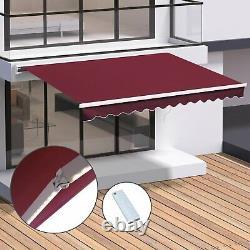 Électrique Patio Auvent Led Lumières Retractable Fenêtre Canopy Garden Sun Shade Rouge