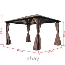 Gazebo 3x4m Avec Rideau Aluminium Tente Patio Shade Sun Shelter Canopy